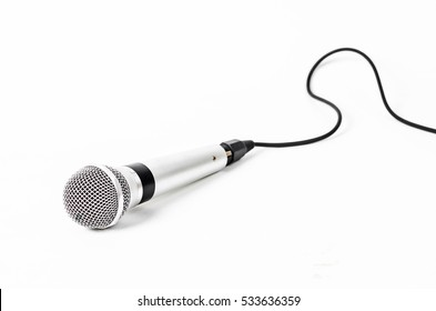 Silver handheld ball head microphone isolated on white background.