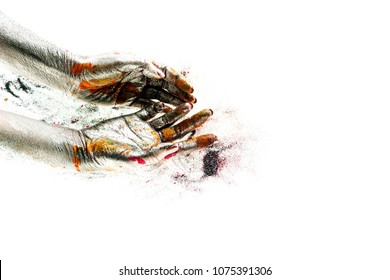 Silver hands. Empty hands are full of color. Body philosophy. Color of this autumn. Yellow leaves on asphalt hands of road. Abstract vision. Hand poem