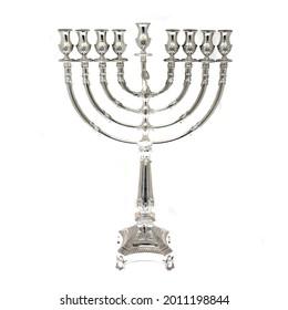 Silver Hanukkah Menorah Isolated on White Background