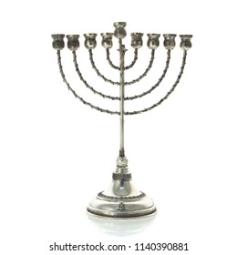 Silver Hanukkah Menorah On White Background