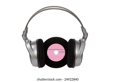 Silver headphones and CD. Isolated on white.