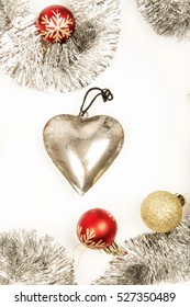 silver heart ,big ,christmas decoration on white ,pink ,background ,ornaments ,celebration ,winter ,beautiful ,grey ,baubles, glitter ,valentines day