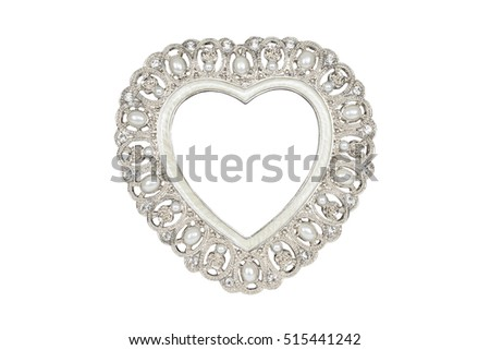 Silver Heart Picture Frame Isolated On Stock Photo (Edit Now ...