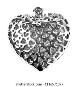 Silver heart shape necklace isolated on white background