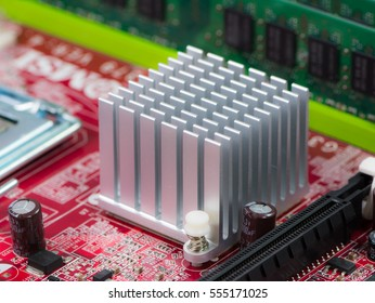 Silver heat sink on a computer motherboard