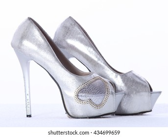 999a9021944 Silver High heel women shoes stilettos on white background