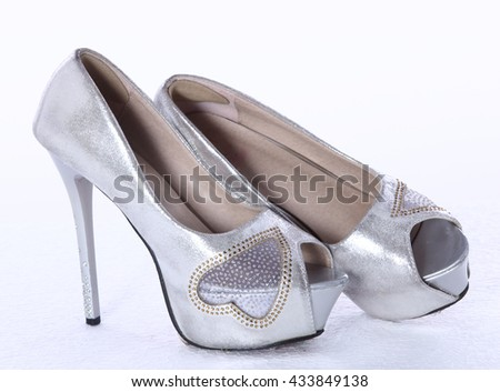 f742e9556bf Silver High Heel Women Shoes Stilettos Stock Photo (Edit Now ...