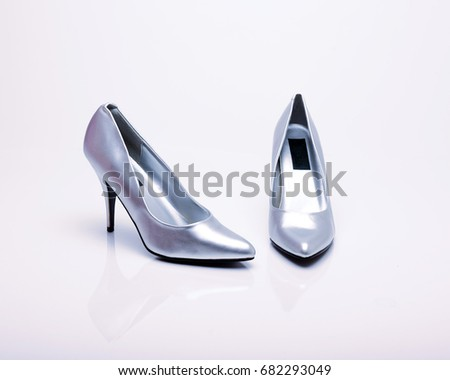 4e17b172cbd Silver High Heels Shoes On White Stock Photo (Edit Now) 682293049 ...