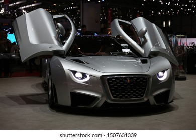 Silver Hispano Suiza Carmen in Geneva International Motor Show (GIMS), Geneva Switzerland March 2019. Electric tourer with over 1000 horsepower. The first model from the historic Barcelona-based brand