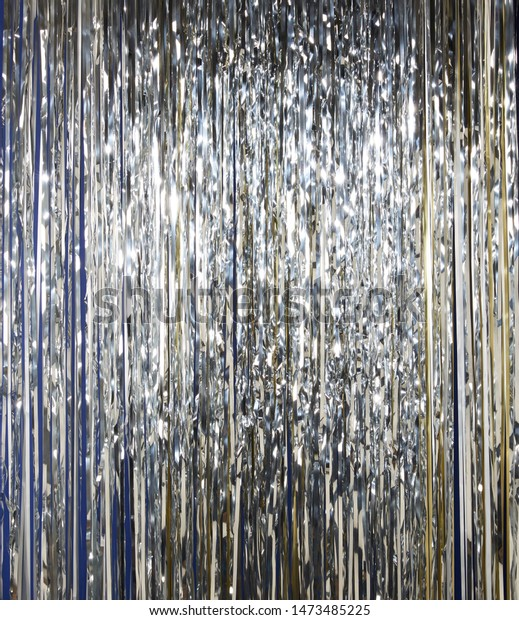 Silver  holographic tinsel line background