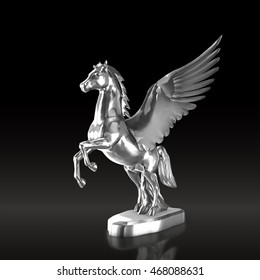 Silver  horse statue isolated on black background, 3d render