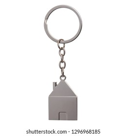 Silver house shaped keychain with keyring isolated on white background with copy space. Concepts for real estate and moving home or renting property.