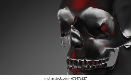 Silver human skull with dark background. Death, horror, anatomy and halloween symbol. 3d rendering, 3d illustration