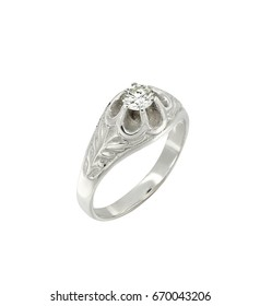 Silver jewelry ring isolated on white background