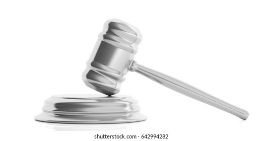 Silver judge or auction gavel isolated on white background. 3d illustration
