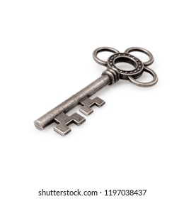 Silver key isolated on white background