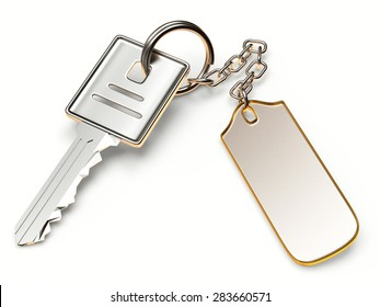 Silver key with metal blank label isolated on white background