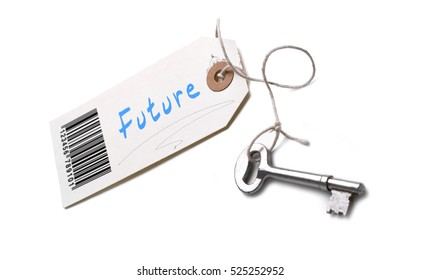 A silver key with a tag attached with a Future concept written on it.