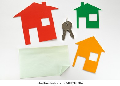 Silver keys, houses multicolored on white background, Mock Up.