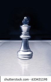 silver king chess in business war concept
