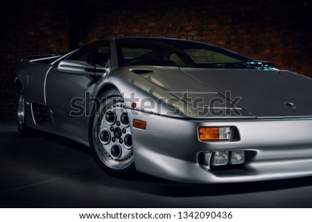 Silver Lamborghini Diablo Front Side Stock Photo Edit Now