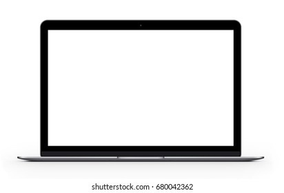 Silver laptop with blank computer screen. Front view Mock up. 3d illustration