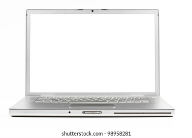 silver laptop front wiev with black screen isolated on white background