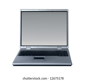 silver laptop isolated on white