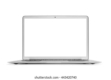 Silver laptop isolated on white background with clipping path.