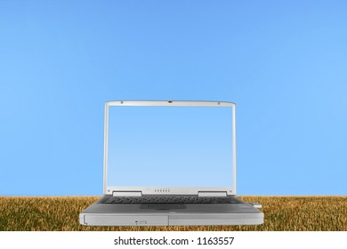 Silver laptop with the lid open and a pale blue screen,  in a field of rough stubble grass against a clear blue sky.