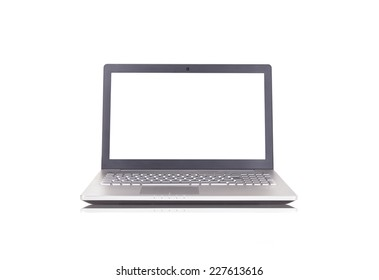 Silver Laptop on isolated white background