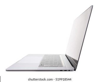 silver laptop PC side view on white background