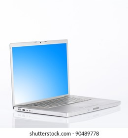 silver laptop,opened,isolated on white.