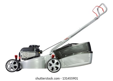 Silver lawn mower isolated on a white background.