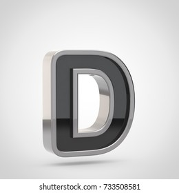 Silver letter D uppercase. 3D render of black font with silver outline isolated on white background.