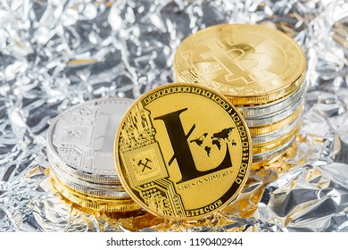 Silver Litecoin Cryptocurrency Digital Bit Coin BTC Currency Technology Business Internet Concept.