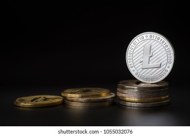 Silver Litecoin LTC coin Cryptocurrency.