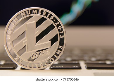 Silver Litecoin on notebook keydoard
