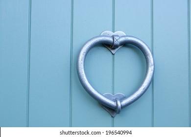 Silver love heart door knocker on a sky blue door & Heart Door Images Stock Photos \u0026 Vectors | Shutterstock