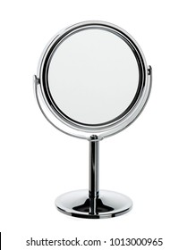 Silver make-up mirror isolated on white background.