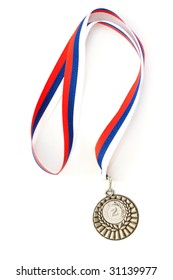 Silver medal isolated on white