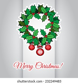 Silver Merry Christmas greeting card with christmas holly berry round wreath and ball hangings