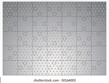 Silver metal background with holes punched and jigsaw puzzle concept
