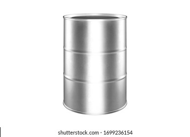 Silver metal barrel white background isolated close up, one round oil drum, steel keg, tin food can, canister, aluminium cask, petroleum storage packaging, fuel container, gasoline tank, canned goods