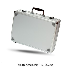 Silver metal briefcase with shadow isolated on white background