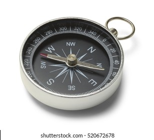 Silver Metal Compass Isolated on White Background.