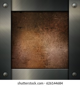 Silver metal frame on a grunge background