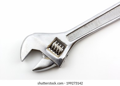 Silver Metal Monkey Wrench on white background.