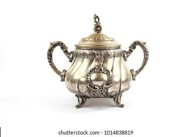 Silver Metal Ornate Tea Pot on White Background