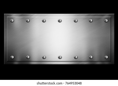 Silver metal plaque on a black background